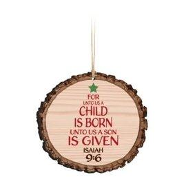 Ornament - For Unto Us a Child is Born, Wood
