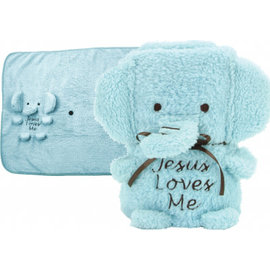 "Blankie - ""Jesus Loves Me"" Elephant, Blue"