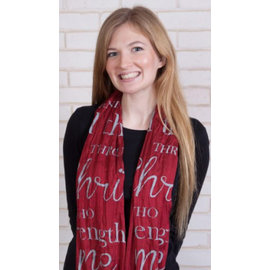 Scarf - I Can Do All Things, Burgundy