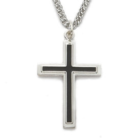 Necklace - Silver/Black Cross, Sterling Silver 24""
