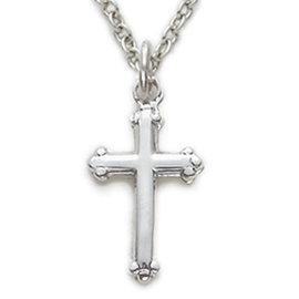 "Necklace - Budded Cross, Sterling Silver 16"""