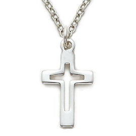 Necklace - Pierced Cross, Sterling Silver 18""