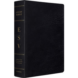 ESV Large Print Study Bible, Black Genuine Leather