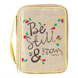 Bible Cover - Be Still and Know, Jute, Large