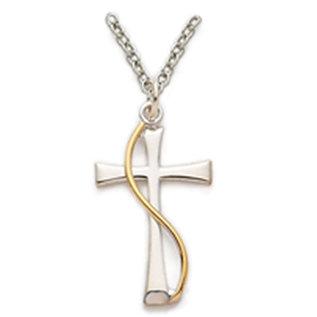 "Necklace - Maltese Cross w/Wire, Sterling Silver 18"""