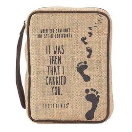 Bible Cover - Footprints, Jute, Small