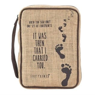 Bible Cover - Footprints, Jute, Small