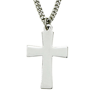 Necklace - Flared Polished Cross, Sterling Silver 18""