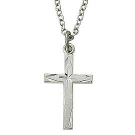 Necklace - Engraved Lady's Cross, Sterling Silver 18""