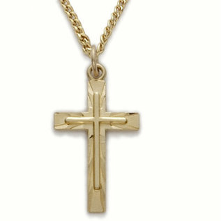 Necklace - Engraved Cross, Gold-Plated Sterling Silver 18""