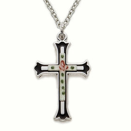 Necklace - Black Cross w/Enameled Rose, Sterling Silver 18""
