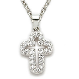 Necklace - Pierced Cubic Zirconia Cross, Sterling Silver 18""
