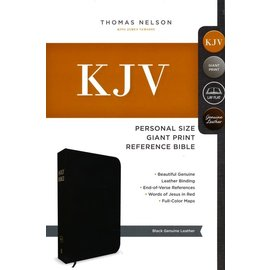 KJV Giant Print Reference Bible, Black Genuine Leather