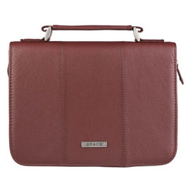 Bible Cover - Grace, Brown, Full Grain Leather