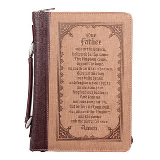 Bible Cover - The Lord's Prayer, Brown, Large