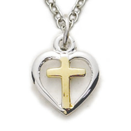 Necklace - Small Cross in Heart, Sterling Silver 16""