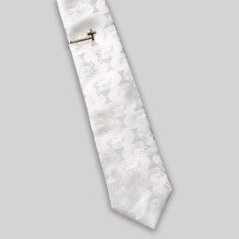 First Communion - Boy's White Tie & Gold Cross Tie Bar Gift Set