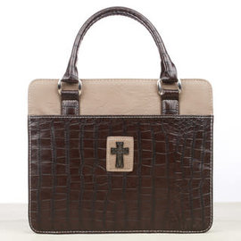 Bible Cover - Brown Cross, Purse Style, Large