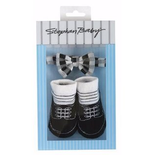 Bowtie & Sock Set, Black & White (3-12 Mo)