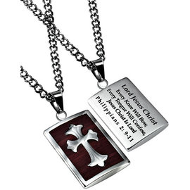 Necklace - Deluxe Shield Cross: Every Knee 24""