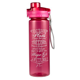 Plastic Water Bottle - I Know the Plans, Pink
