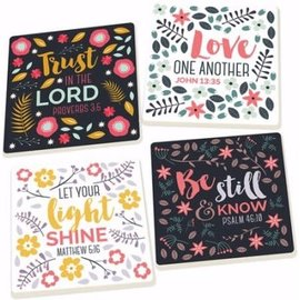 Coaster Set - Trust in the Lord (Floral) (Set Of 4)