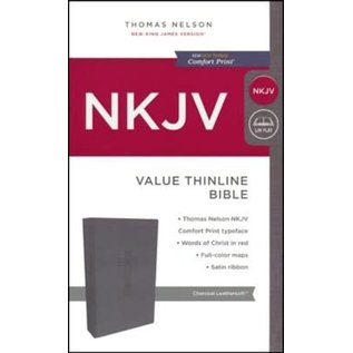 NKJV Value Thinline Bible, Charcoal Leathersoft