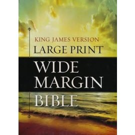 KJV Large Print Wide Margin Bible, Black Genuine Leather