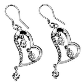 Earrings - Cubic Zirconia Dangling Heart
