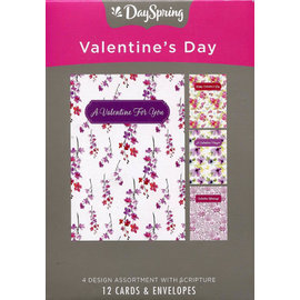 Boxed Cards - Valentine, Pink Flowers