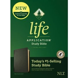 NLT Life Application Study Bible 3, Black Genuine Leather, Indexed