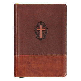 Journal - John 3:16 with Cross, Leather Zippered