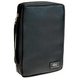 Bible Cover - Black w/Fish, Extra Small (Compact)