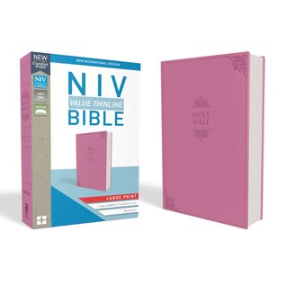 NIV Large Print Thinline Bible, Pink Leathersoft