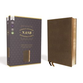 NASB Large Print Single-Column Reference Bible, Brown Leathersoft