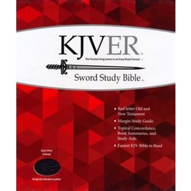 KJVER Giant Print Sword Study Bible, Burgundy Genuine Leather, Indexed