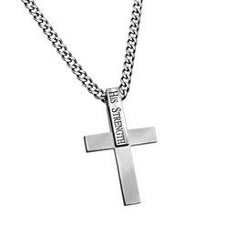 Necklace - ID Cross: His Strength, Stainless Steel 24""