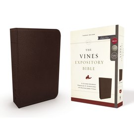 NKJV Large Print Vines Expository Bible, Brown Leathersoft
