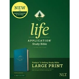 NLT Large Print Life Application Study Bible 3, Teal Blue LeatherTouch