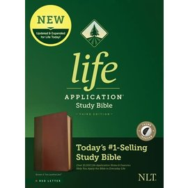NLT Life Application Study Bible 3, Brown/Tan LeatherLike, Indexed, Red Letter