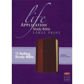 NKJV Large Print Life Application Study Bible, Brown/Tan LeatherTouch