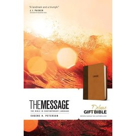 Message Deluxe Gift Bible, Brown/Saddle Tan LeatherLook