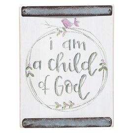 Child Of God (Pink Bird) White Wood Block Sign
