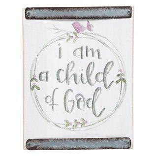 Child Of God (Pink Bird) White Wood Block Sign