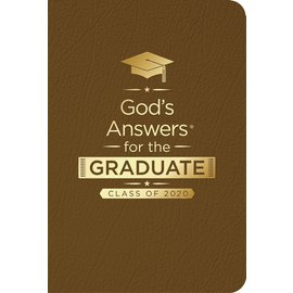 God's Answers for the Graduate, Class of 2020, NKJV Brown Leathersoft