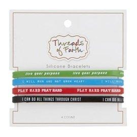 Silicone Bracelet Set: Live, Run, Play, Do
