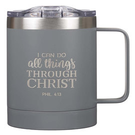 Stainless Steel Mug - I Can Do All Things, Gray Camp Style