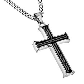 """Black Iron Cross Necklace: Armor of God, 24"""" Stainless Steel"""
