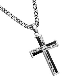 """Cable Cross Necklace: Christ My Strength, 24"""" Stainless Steel"""
