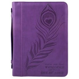 Bible Cover - Show Me the Wonders, Purple Large